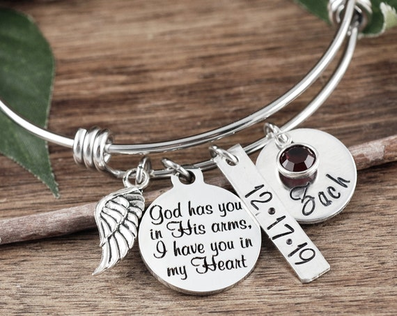 Personalized Memorial Bracelet, God has you in His arms I have you in my heart, Sympathy Gift, Remembrance Gift, Silver Bangle Bracelet