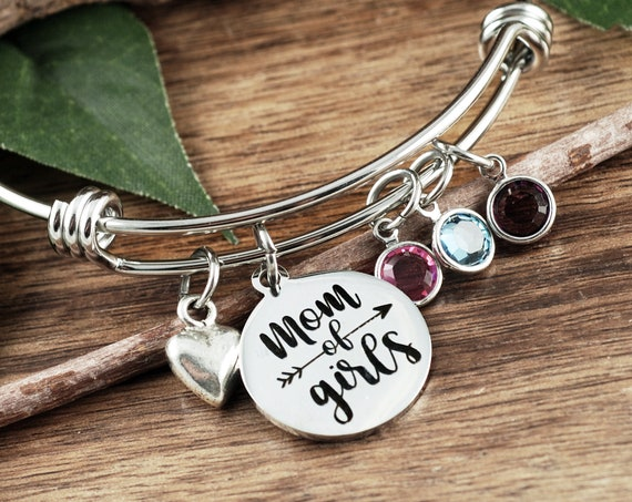 Mom of Girls Gift, Girls Mom Bracelet, Mother's Day Gift, Birthday gift for Mom, Birthstone Jewelry, Gift for Mom, Love my Girls