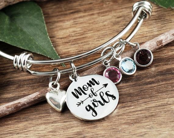 Mom of Girls Gift, Girls Mom Bracelet, Mother's Day Gift, Birthday gift for Mom, Birthstone Jewelry, Gift for Mom, Love my Girls