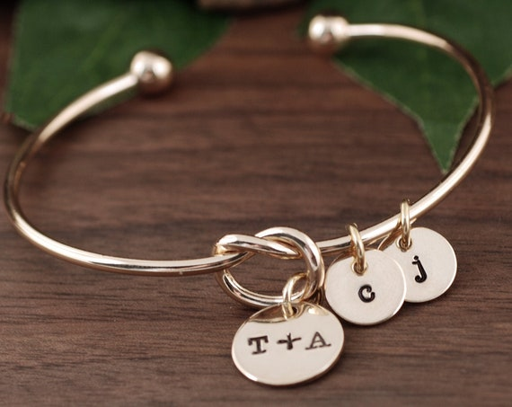 Mothers Bracelet, Initial Jewelry, Gold Knot Bracelet, Kids Initials Jewelry, Anniversary Gift for Her, Mother's Day Gift, Jewelry for Mom