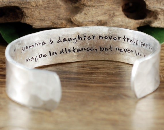 Mother's Cuff Bracelet, Personalized Mom Bracelet, Secret Message Bracelet, Mothers Day Gift, Gift for Mom, Mother of the Bride Gift
