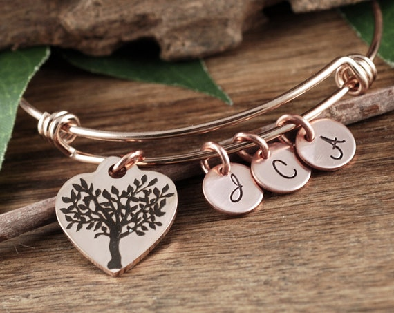 Rose Gold Family Tree Bracelet, for Grandma, Grandmother Gift, Bracelet for Grandma, Family Tree Bracelet, For Grandma from Grandchildren