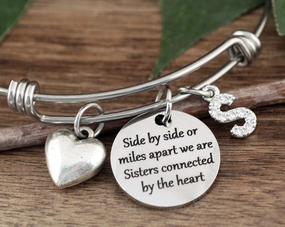 Sister Jewelry, Side by Side or Miles Apart, Bracelet for Sister, Gift for Sister, Sister Bracelet, Charm Bracelet, Birthday Gift for Sister