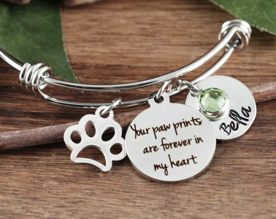 Pet Memorial Bracelet, Forever in my Heart, Loss of Dog, Angel Baby, Memorial Gift, Dog Paw Bracelet, Loss of pet Gift, Dog Mom Gift