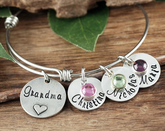 Personalized Grandma Bracelet, Mother's Bangle Bracelet, Gift For Mom, Gift For Grandma, Bracelet for Grandma, Mother's Day Gift, Mom Gift