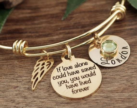 Remembrance Bracelet for Women, Personalized Memorial Gift, Sympathy Gift, In Memory Of,  Loss of Dad, Loss of Parent, Loss of Child