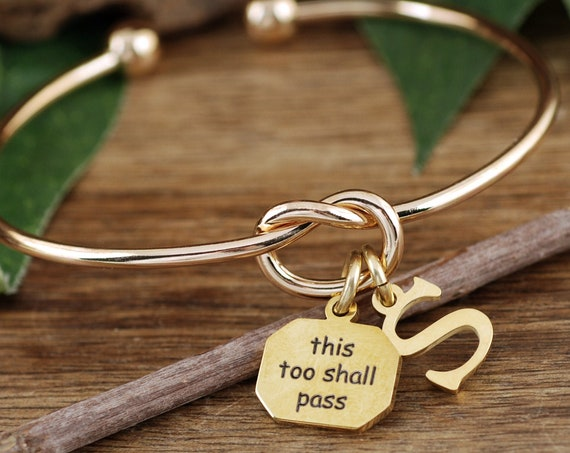 Courage Jewelry, Cheer Up Bracelet, This too shall Pass, Inspirational Gift, Gift for Her, Encouragement Gift, Thinking of You