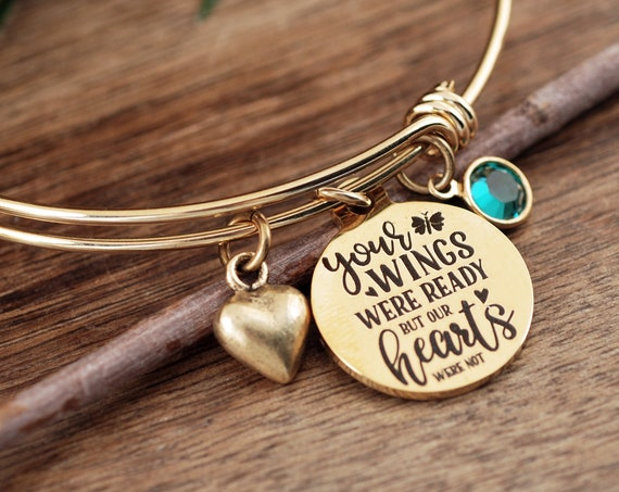 Your wings were ready but my heart was not, Personalized Memorial Bracelet, Sympathy Gift, Remembrance Gift, Silver Bangle Bracelet