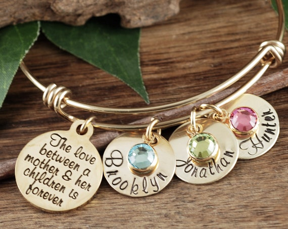 Personalized Mom Bracelet, Mother's Bangle Bracelet, Gift For Mom, Gift For Mother's, Bracelet for Mom, Mother's Day Gift, Mom Gift