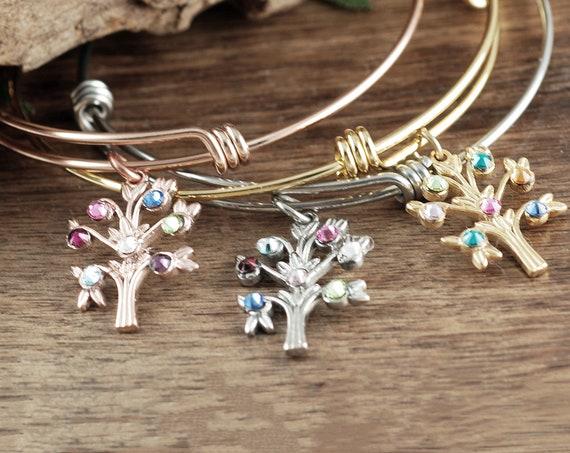 Family Tree Jewelry with Birthstones, Grandma Bracelet, Personalized Birthstone Bracelet, Gift for Grandma, Mothers Day Gift, Mom Bracelet
