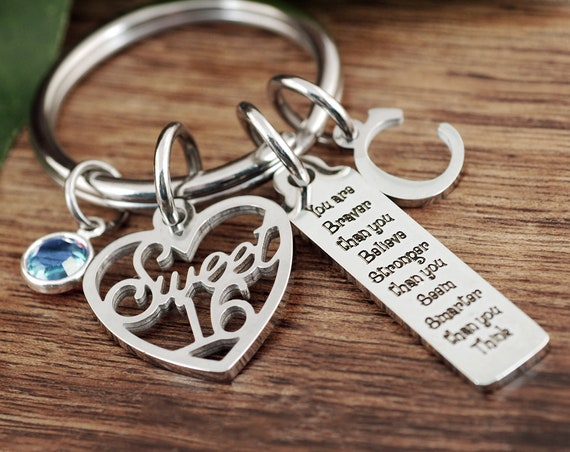 You're braver than you believe stronger than you seem quote keychain, motivational, Sweet 16 Keychain, Sweet 16 Gift, Sweet 16 Daughter