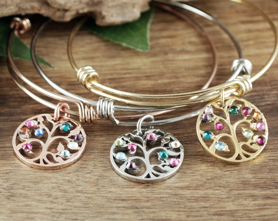 Family Tree Bangle Bracelet, Grandma Bracelet, Personalized Birthstone Bracelet, Grandmother Bracelet, Gift for Grandma, Mothers Day Gift