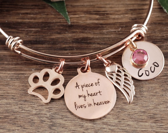 Piece of my Heart lives in Heaven, Memorial Gift, Personalized Memorial Bracelet, Loss of Pet, Pet Loss Jewelry, Dog Paw Bracelet, Dog Mom