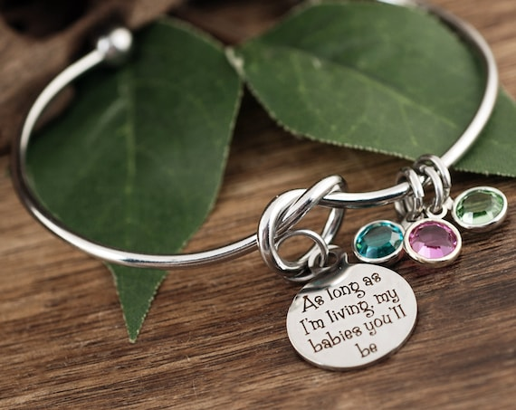 As long as I'm living my Babies you'll be, Birthstone Mom Bracelet, Gift for Grandma, Gift from kids, Knot Bracelet, Mother's Day GIft