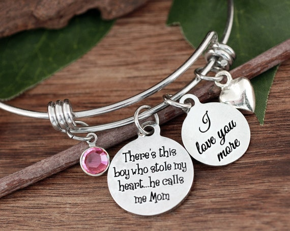 There's This Boy Who Stole my Heart, He calls me Mom, Mother Son Jewelry, Bracelet for Mom, Gift for Mom, Mother's Bracelet, Mother's Gift