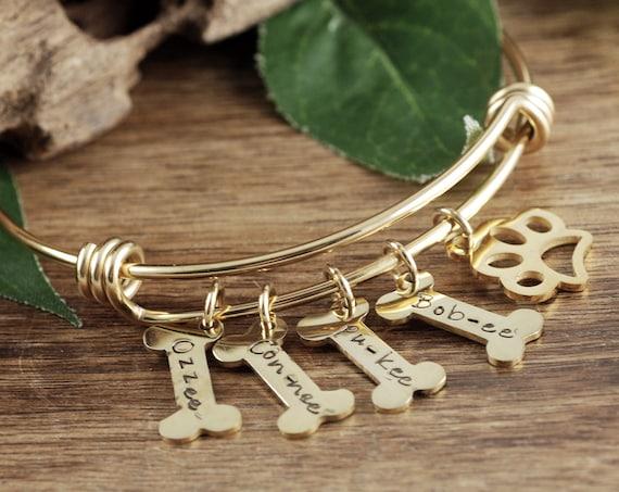 Personalized Dog Mom Bracelet, Paw Print, Pet Memorial, Pet Name Bracelet, Dog Mom Gift, Pet Jewelry, Dog Bone Bracelet