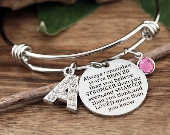 You Are Braver Than You Believe Stronger Than You Seem, and Smarter Thank You Think, Personalized Inspirational Bracelet, Pooh Quote
