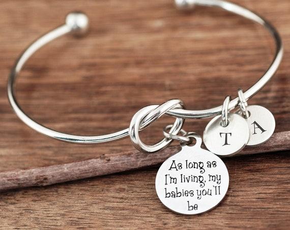 As long as I'm living Bracelet, Personalized Mom Bracelet, Gift for Grandma, Gift from Grandkids, Knot Bangle Bracelet, Initial Bracelet Mom