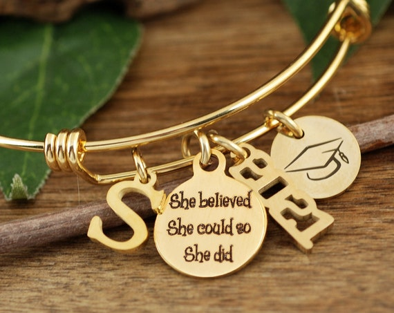 Personalized Graduation Bracelet, She Believed She Could So she Did, Gifts for Graduate, College Graduate, Gift for Her, Class of 2021