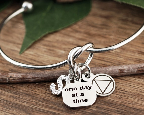 Sobriety Bracelet, One Day at a Time Bracelet, Sobriety Jewelry, Addiction Jewelry, Recovery Jewelry, Sober Date, Celebrate Sobriety