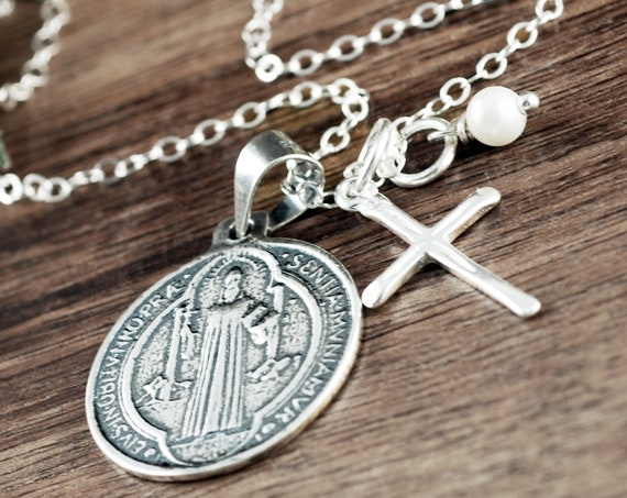 Confirmation Gift, St. Benedict Necklace, Faith Necklace, Cross Necklace, Communion Gift, Gift for Her, Religious Gift,