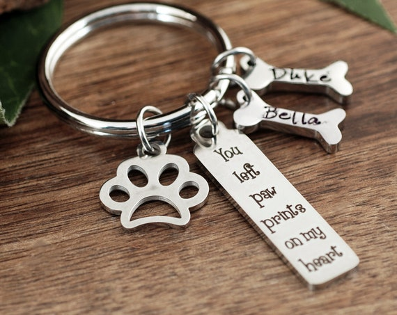You left Paw Prints on my Heart, Personalized Pet Memorial Gift, Dog Mom Keychain, Pet Name Dog Bone Keychain, Dog Mom Gift, Pet Jewelry