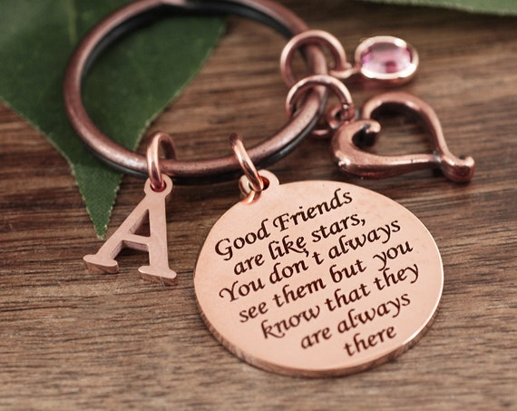 Best Friend Keychain, Friendship Keychain, Bridesmaid Gift, Gift for Friend, Good friends are like stars, Friend Gift, Birthday Friend