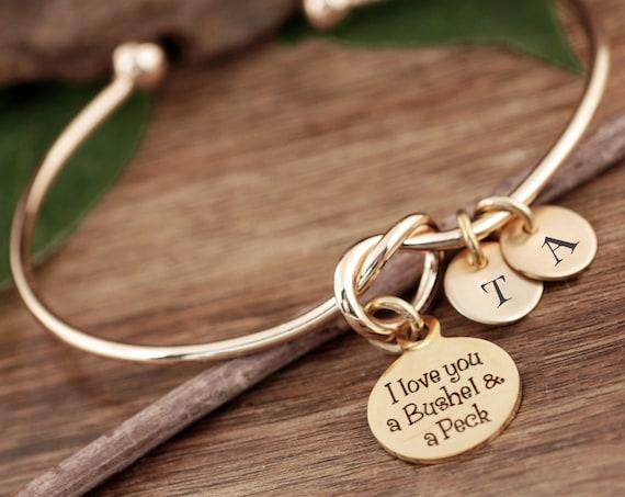 I love you a Bushel & a Peck Bracelet, Personalized Mom Bracelet, Gift for Mom, Gift from kids, Knot Bangle Bracelet, Initial Bracelet Mom