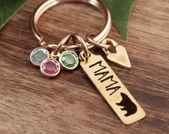 Mama Bear Keychain, Mom Gifts, Mother's Day Gift, Mom Birthstone Keychain, Mom Jewelry, Mama Bear Gift, Mothers Day Jewelry, Gift for Mom