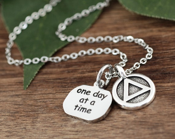 Sobriety Necklace, One Day at a Time Necklace, Sobriety Jewelry, Addiction Jewelry, Recovery Jewelry, Sober Date, Celebrate Sobriety