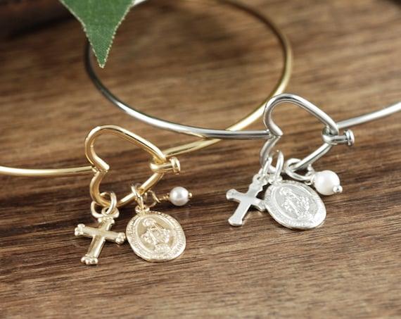 St. Mary Magdalene Bracelet, Confirmation Gift, Faith Bracelet, Cross Bracelet, Communion Gift, Gift for Her, Religious Gift