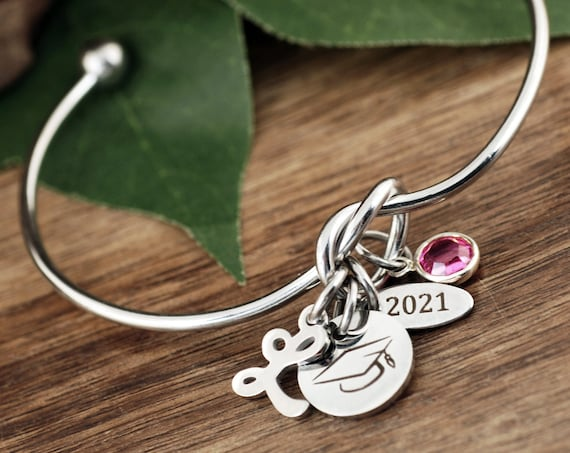 Silver Graduation Gift, Personalized Graduation Bracelet, Gifts for Graduate, College Graduate, Gift for Her, 2021 Graduation, Senior Gift