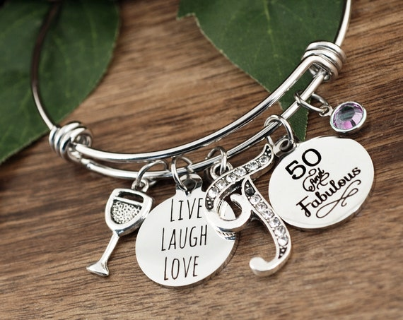 50 and Fabulous, 50th Birthday Gift for Her, 50th Birthday Girl, 50th Birthday Gift, Fiftieth Birthday, Live Laugh Love, Friend Gift