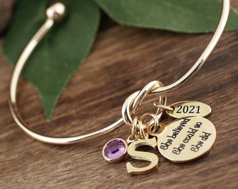 Personalized Graduation Bracelet, Gold Graduation Gift, Gifts for Graduate, College Graduate, Gift for Her, 2021 Graduation, Gift for Her