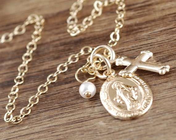 First Holy Communion Gift, St. Mary Magdalene Necklace, Faith Necklace, Cross Necklace, Confirmation Gift, Gift for Her, Religious Gift