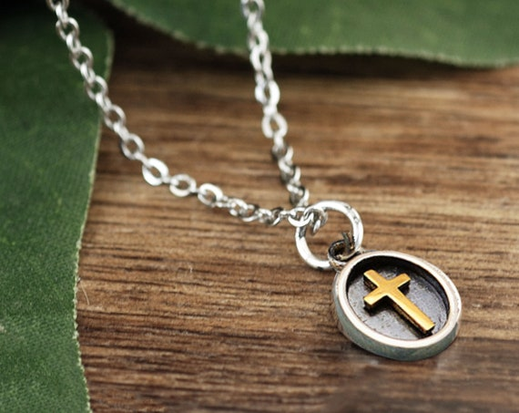 Dainty Cross Pendant Necklace, Faith Necklace, Sterling Silver Gold Plated, Dainty Heart Necklace, Religious Necklace, Layering Necklace