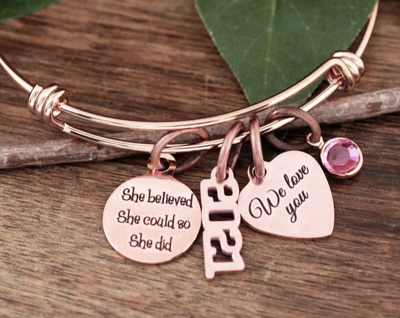 She believed she Could so she Did, Gift for Daughter, 2021 Graduation Bracelet, Graduation Bracelet, Gift for Graduate, Graduation Gift
