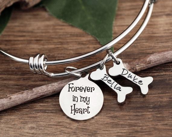 Personalized Pet Memorial Gift, Dog Mom Bracelet, Forever in my Heart, Pet name Bracelet, Dog Mom Gift, Pet Jewelry, Dog Bone Bracelet