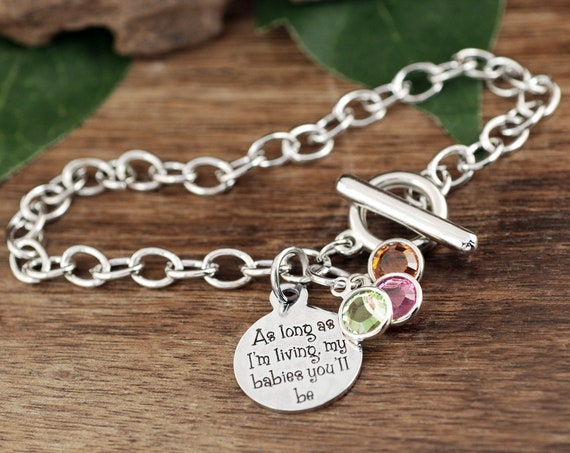 As long as I'm living my Babies you'll be, Birthstone Mom for Bracelet, Gift for Grandma, Gift from kids, Knot Bracelet, Mother's Day Gift