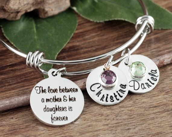 Mother Daughter Bracelet, Mother's Bangle Bracelet, Gift For Mom, Gift For Grandma, Bracelet for Grandma, Mother's Day Gift, Mom Gift