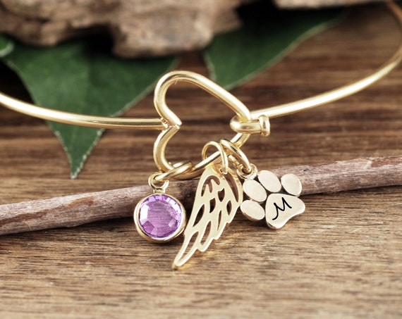 Memorial Pet Bracelet, Personalized Pet Memorial Bracelet, Birthstone Jewelry, Dog Paw Jewelry, Sympathy Bracelet, Loss of Pet