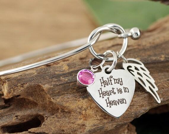 Half my Heart is in Heaven, Memorial Gift, Memorial Bracelet, Sympathy Gift, Knot Bangle Bracelet, Silver Knot Bracelet, Loss of Loved One