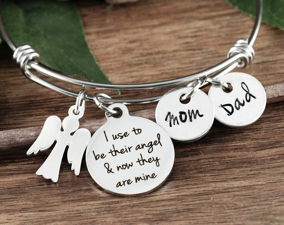 Memorial Bracelet, I used to be their angel now they are mine, In Memory of Mom, Memory Jewelry, Memorial Jewelry, Remembrance Jewelry
