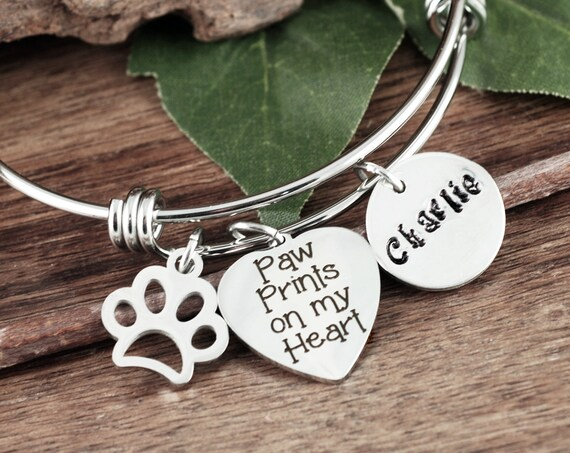Paw prints on my Heart, Pet Memorial Bracelet, Loss of Dog, Angel Baby, Memorial Gift, Dog Paw Bracelet, Loss of pet Gift, Dog Mom Gift
