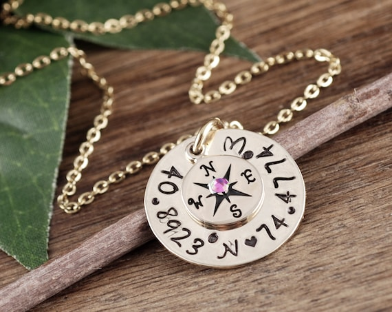 Gold Coordinate Necklace, Custom Compass Necklace, Compass Charm Necklace, Wanderlust, Graduation Gift, Gift for Graduate, Travel Necklace