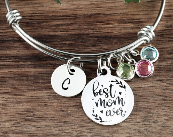 Best Mom Ever Birthstone Bracelet, Gift or Mom, Birthstone Charm Bracelet, Mother's Bracelet, Mother's Day Gift, Bracelet for Mom