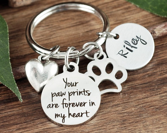 Pet Memorial Keychain, Forever in my Heart, Loss of Dog, Angel Baby, Memorial Gift, Dog Paw Keychain, Loss of pet Gift, Dog Mom Gift