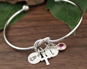 Prayer Christian Charm Bracelet, Silver Knot Bracelet, Religious Bracelet, Christian Gifts for Her, Communion Gift, Confirmation Bracelet