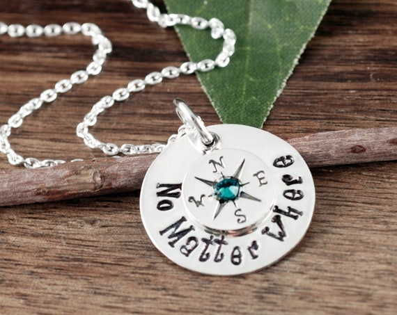 Silver Compass Necklace, No Matter Where Necklace, Compass Charm Necklace, Wanderlust, Graduation Gift, Gift for Graduate, Travel Necklace