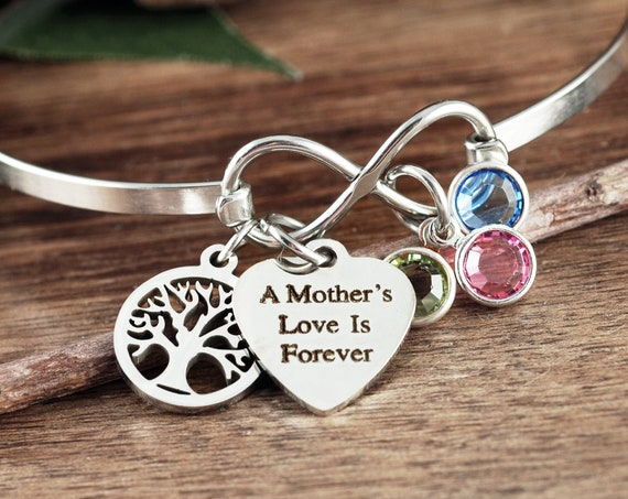 Personalized Mom Bracelet, A Mother's Love is Forever, Infinity Tree of Life Bracelet, Infinity Bangle Bracelet, Birthstone Bracelet for Mom